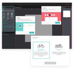 screenshot showing user onboarding process for a prototyping tool called Just in Mind