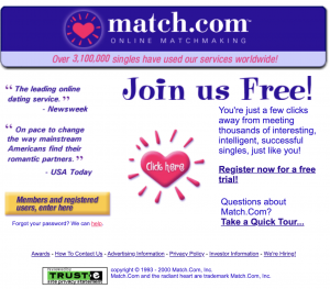 match.com website from march 200