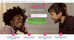 screen shot of a website landing page for match.com