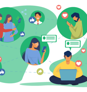 illustration showing various user personas interscting with technology devices