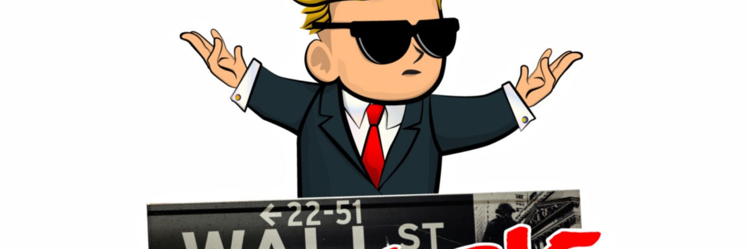cartoon illustration of a man in a suit with the wall street bets logo