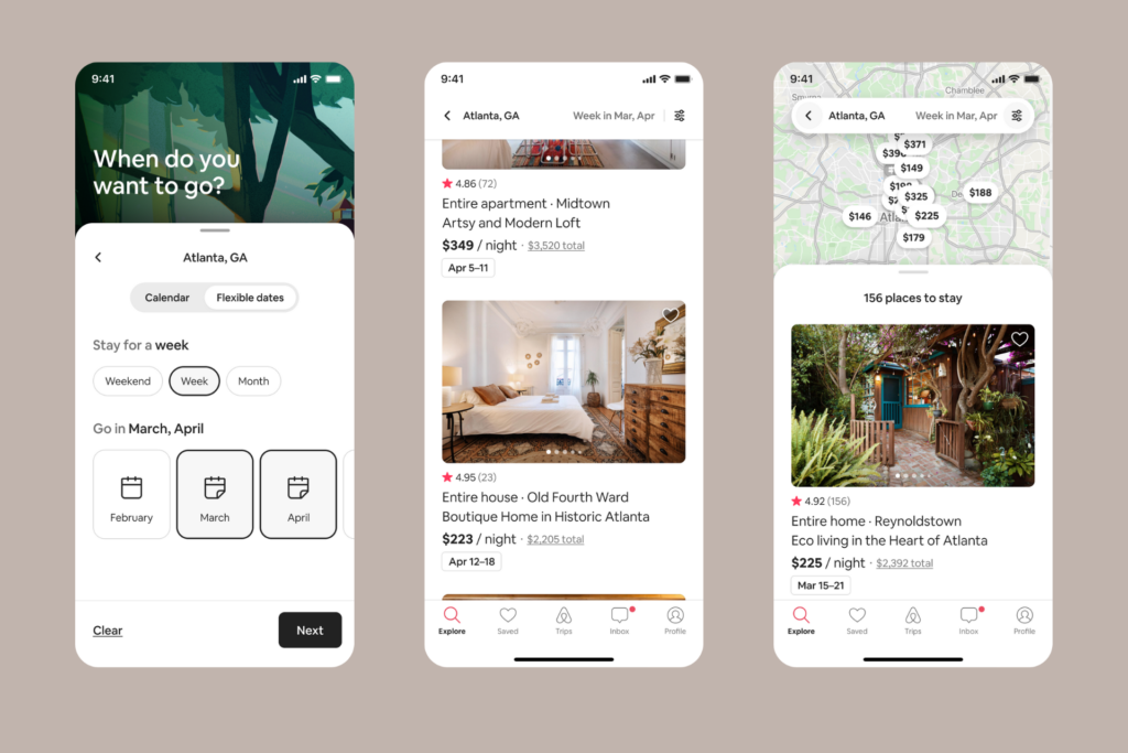 Three screenshots showing airbnbs new flexible search feature for travellers to use in a post-pandemic world