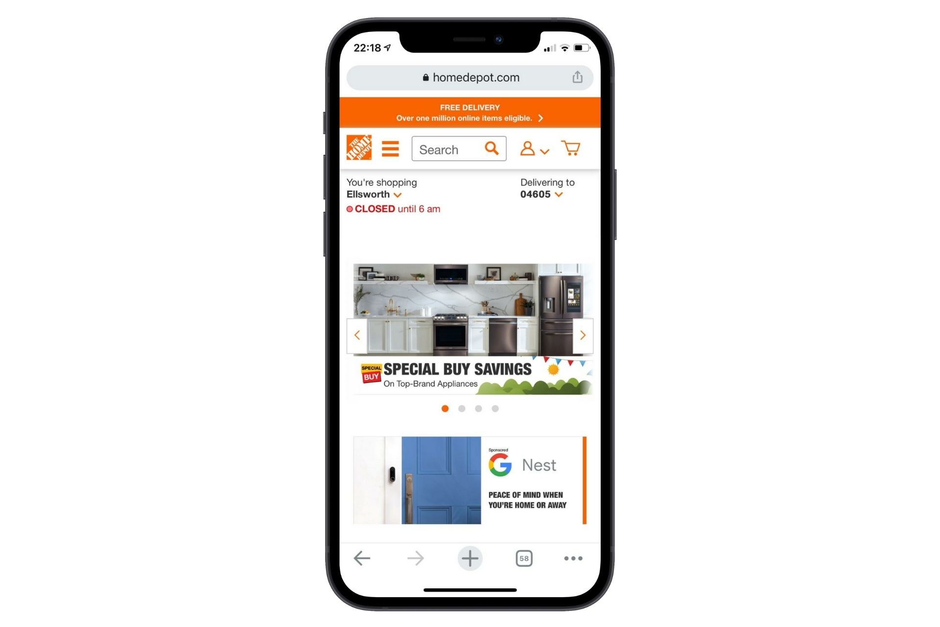 adaptive web design mobile home depot example mobile screen size