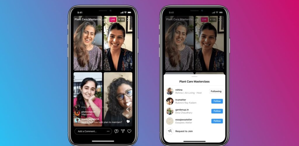 iphone mockup of instagram live rooms feature