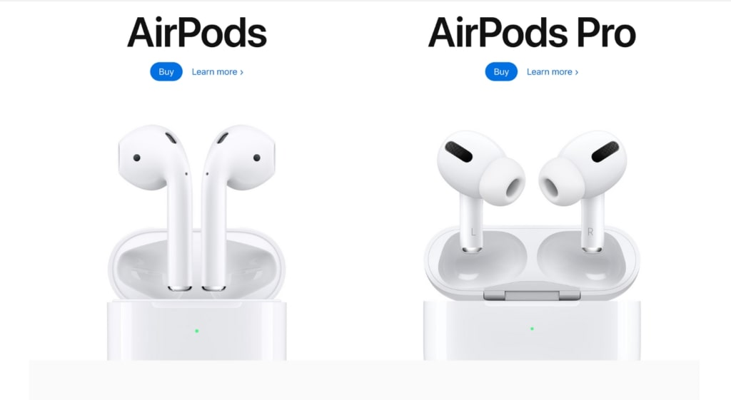 whitespace example airpods landing page