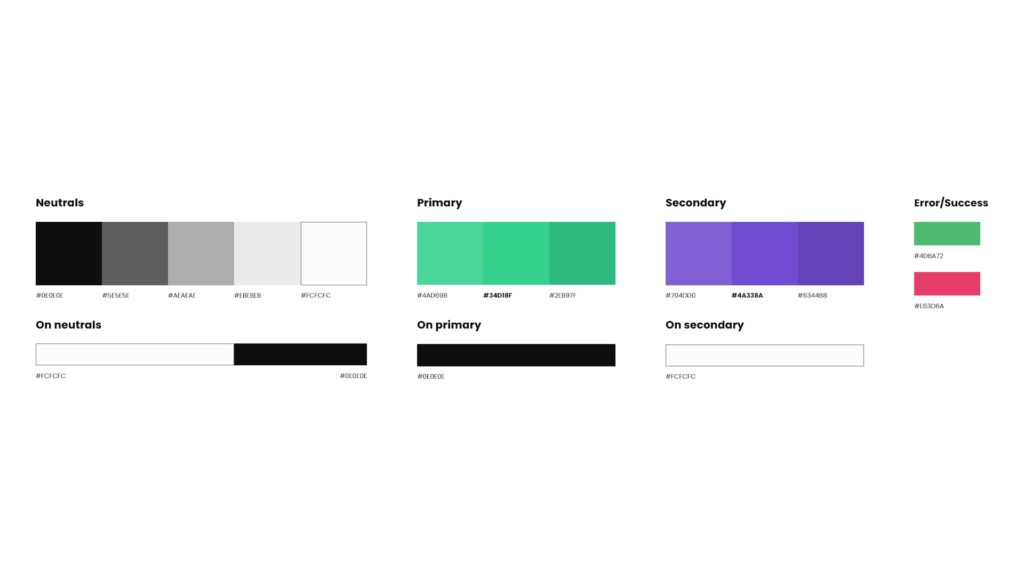 a graphic of a stylesheet on which all the colours used on a product are showcased